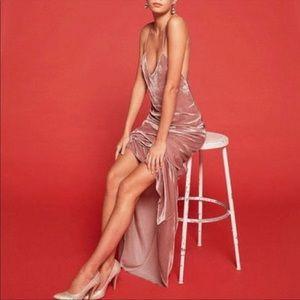 Reformation Velvet Blush Rimini Maxi Gown Dress